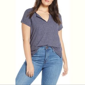J Crew Easy Split Neck Tee in Naomi Stripe Size S